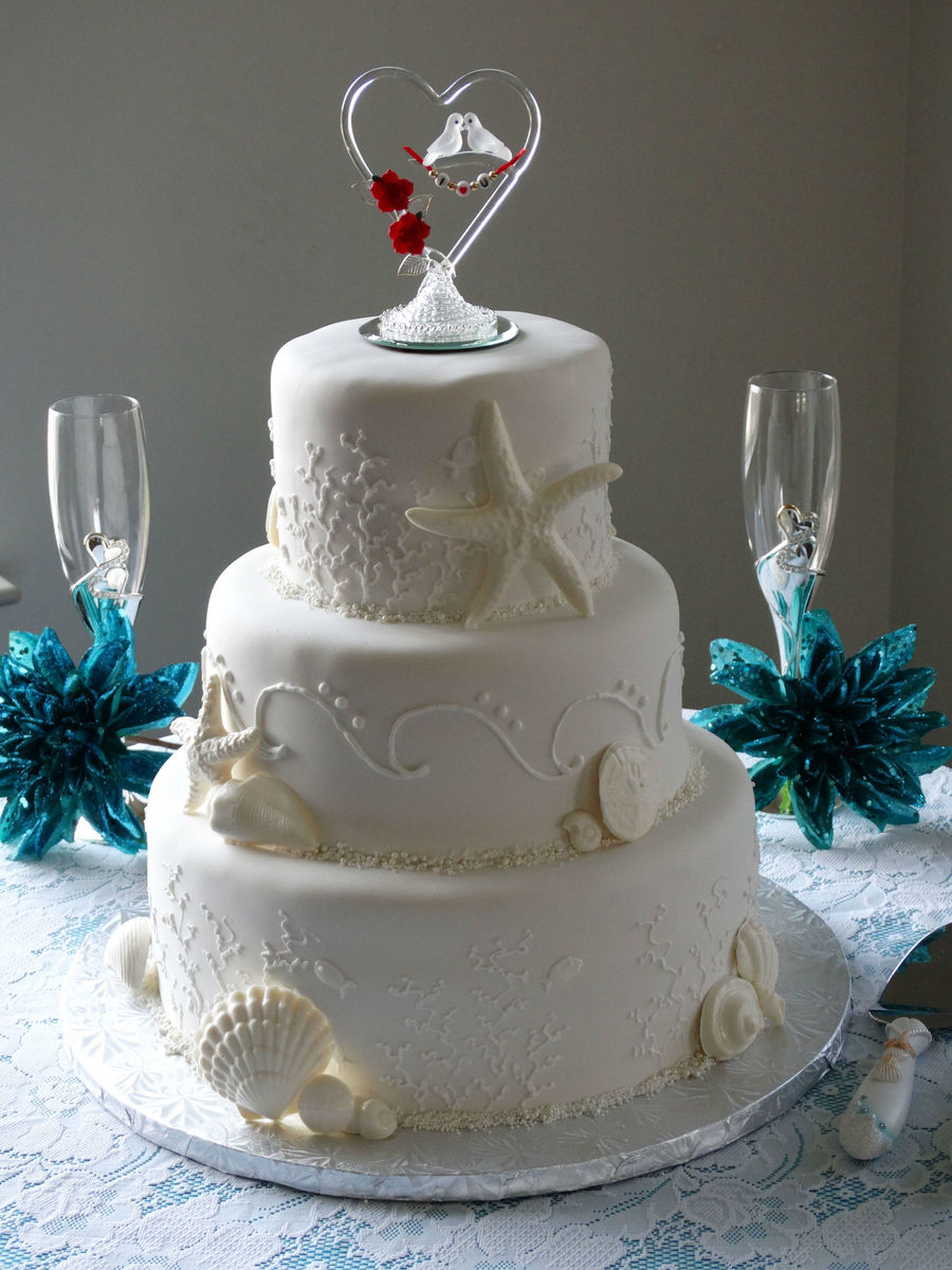 Seashell Wedding Cake on Cake Central