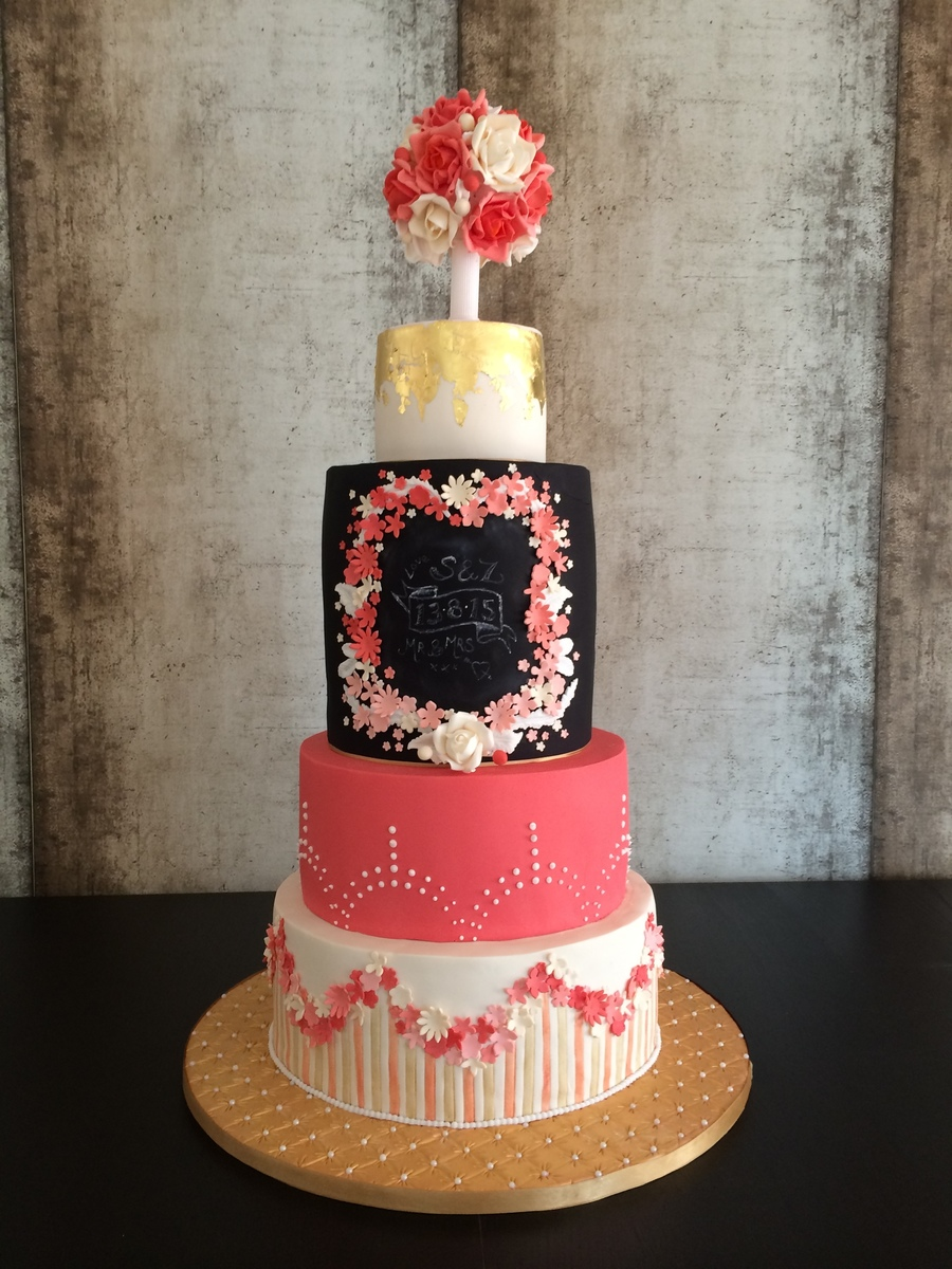 Coral And Black Wedding Cake on Cake Central