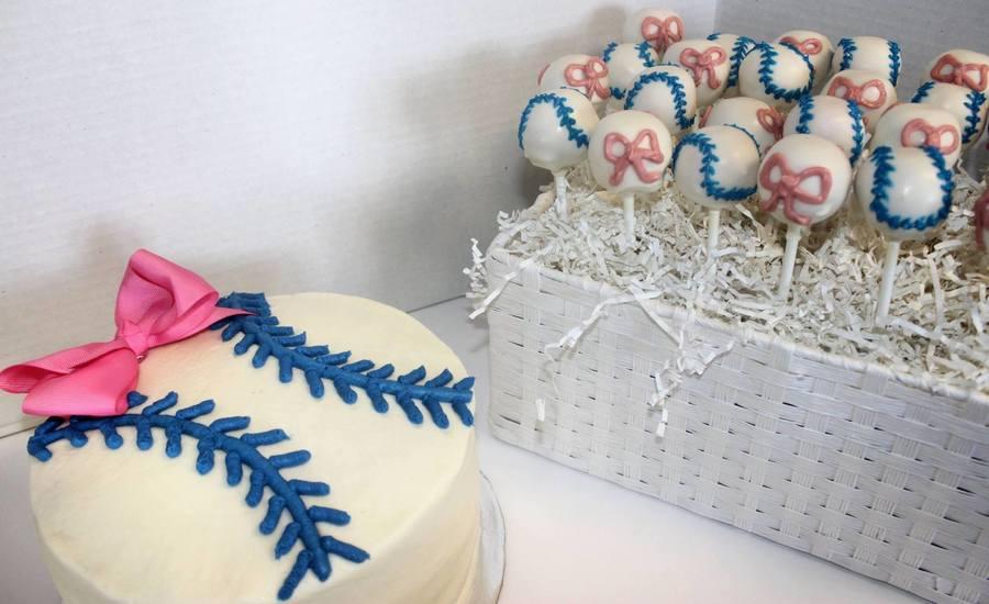 Baseballs Or Bows Cake