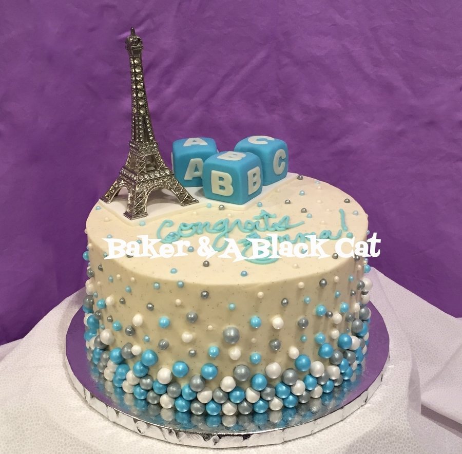 Paris Baby Shower Cake: Paris-Themed Baby Shower Cake