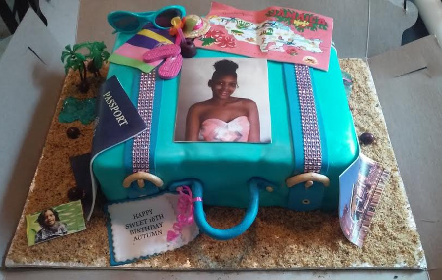 Suitcase Cake W A Jamaica Themed Sweet 16 Birthday Cake