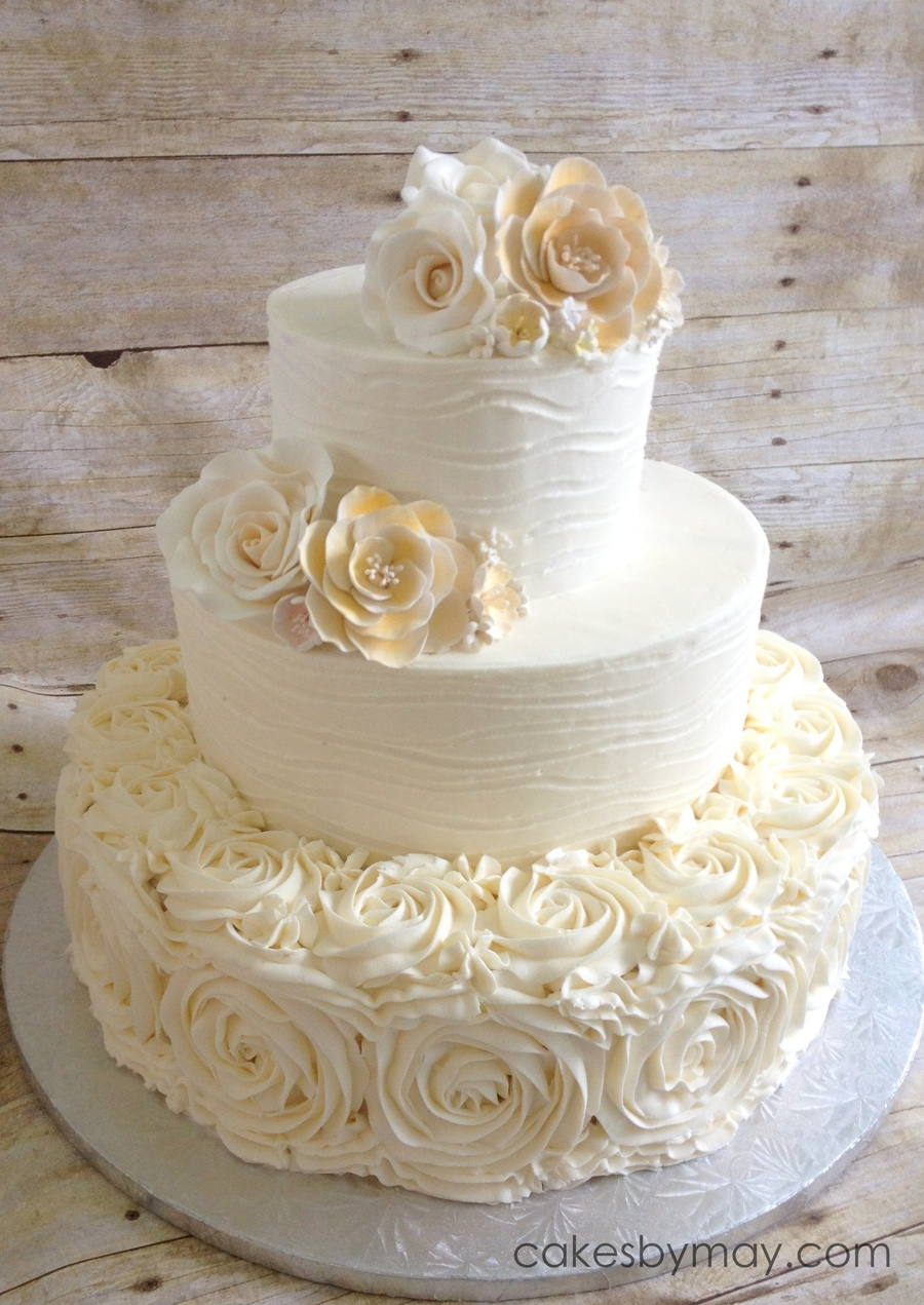 rosette wedding cake images buttercream textured and rosettes cakecentral 19310