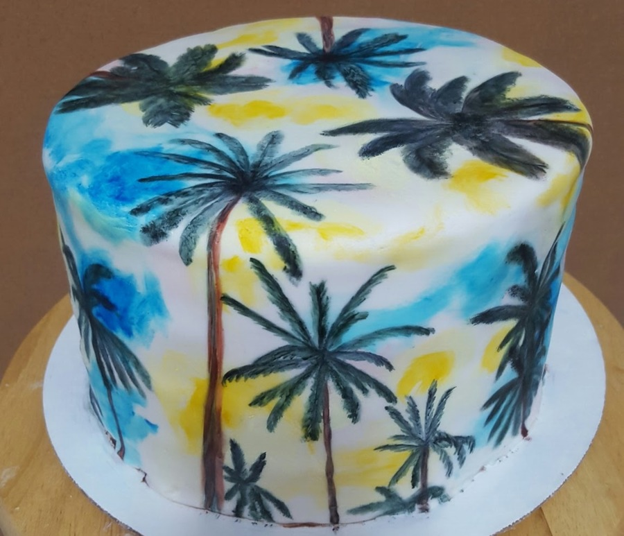 Fantastic Hand Painted Palm Tree Cake Cakecentral Com Birthday Cards Printable Trancafe Filternl