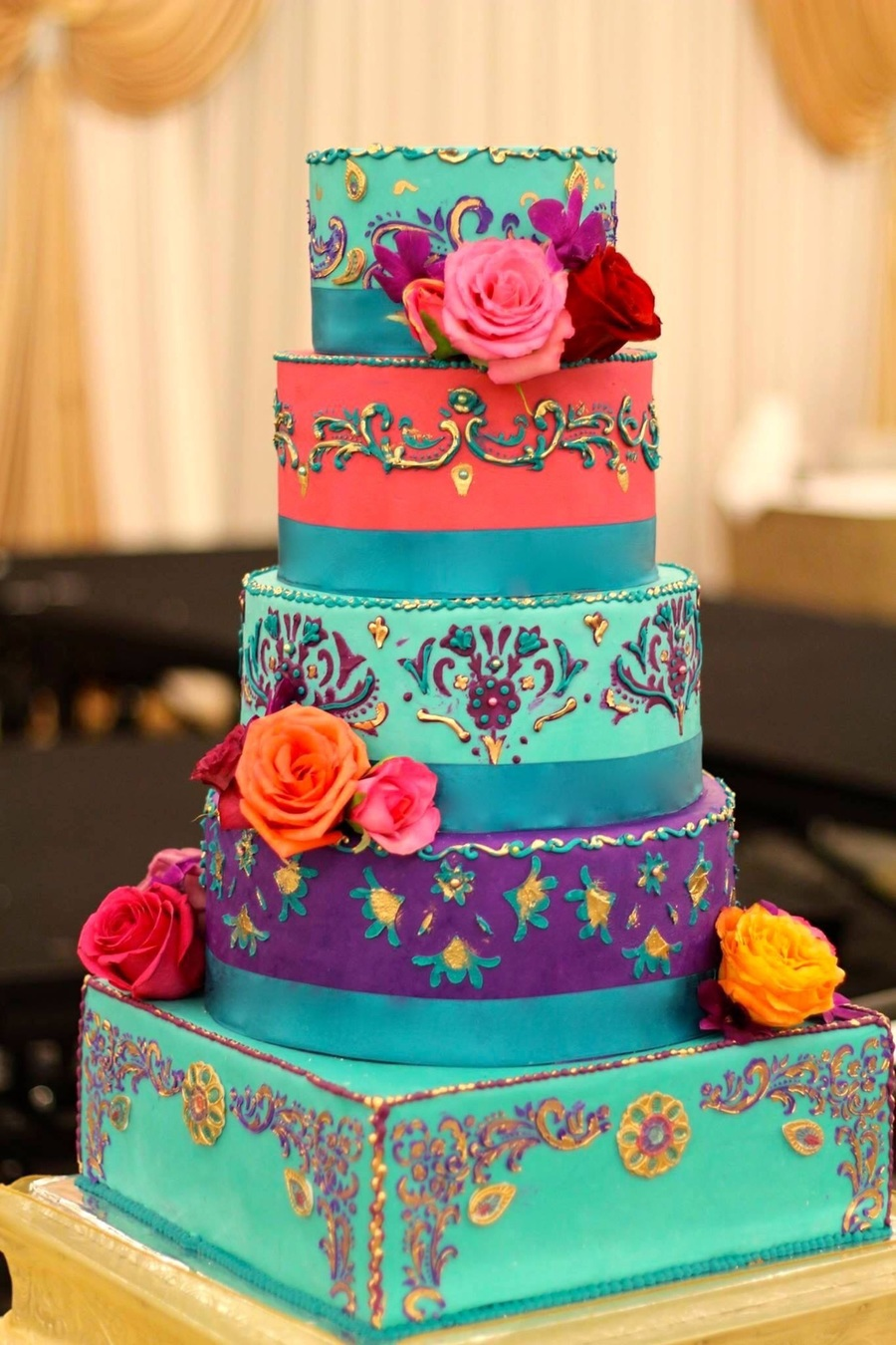 5 Tier Multi Colored India Inspired Wedding Cake On Central