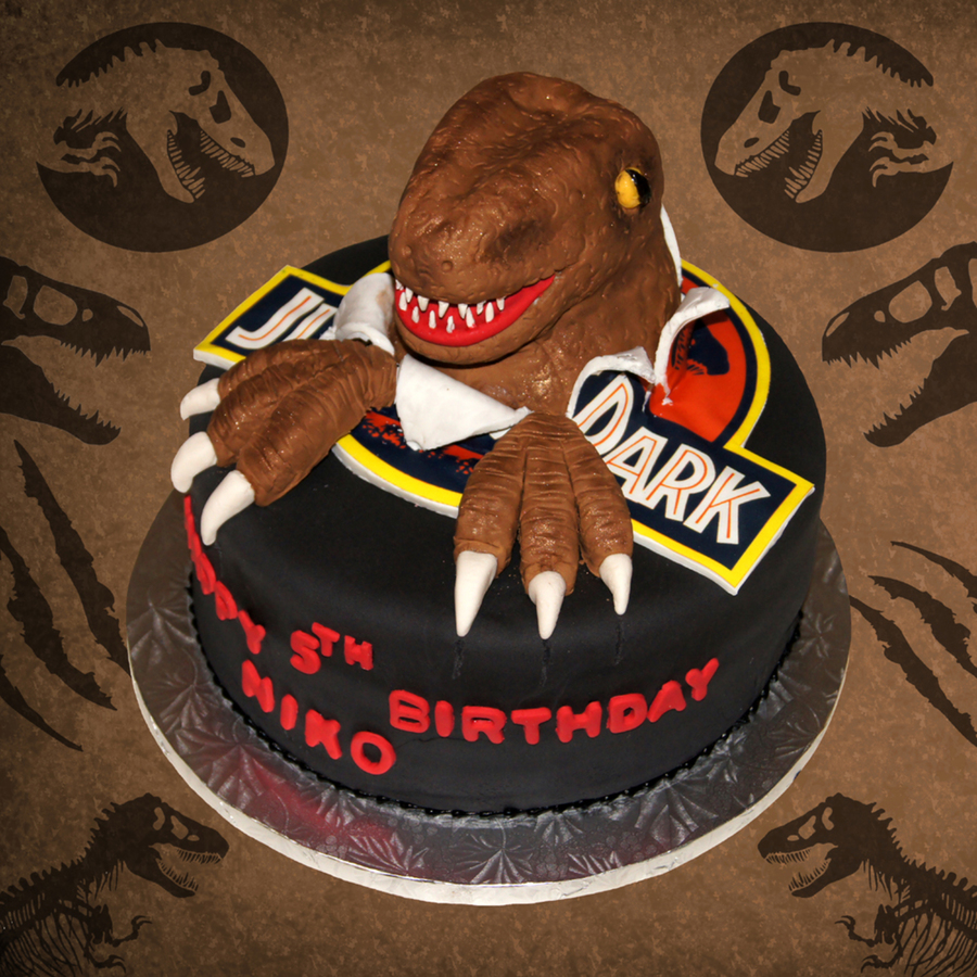 3d Jurassic Park Dinosaur Bursting Out Of Logo Birthday Cake