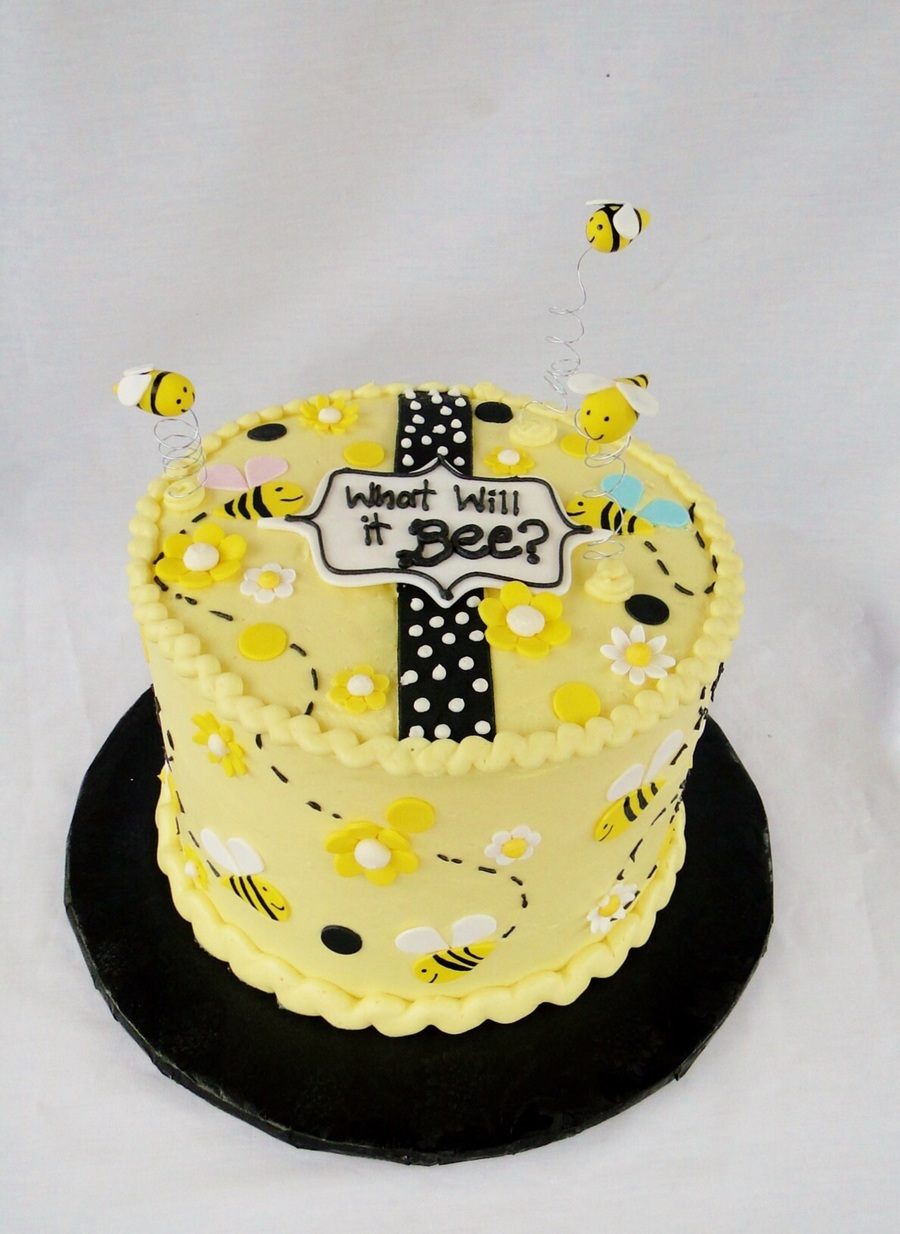 Bee Gender Reveal Cake on Cake Central