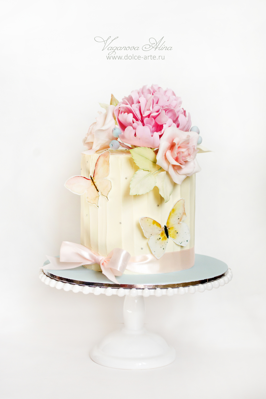 Wedding Cake With Peony Roses And Butterflies
