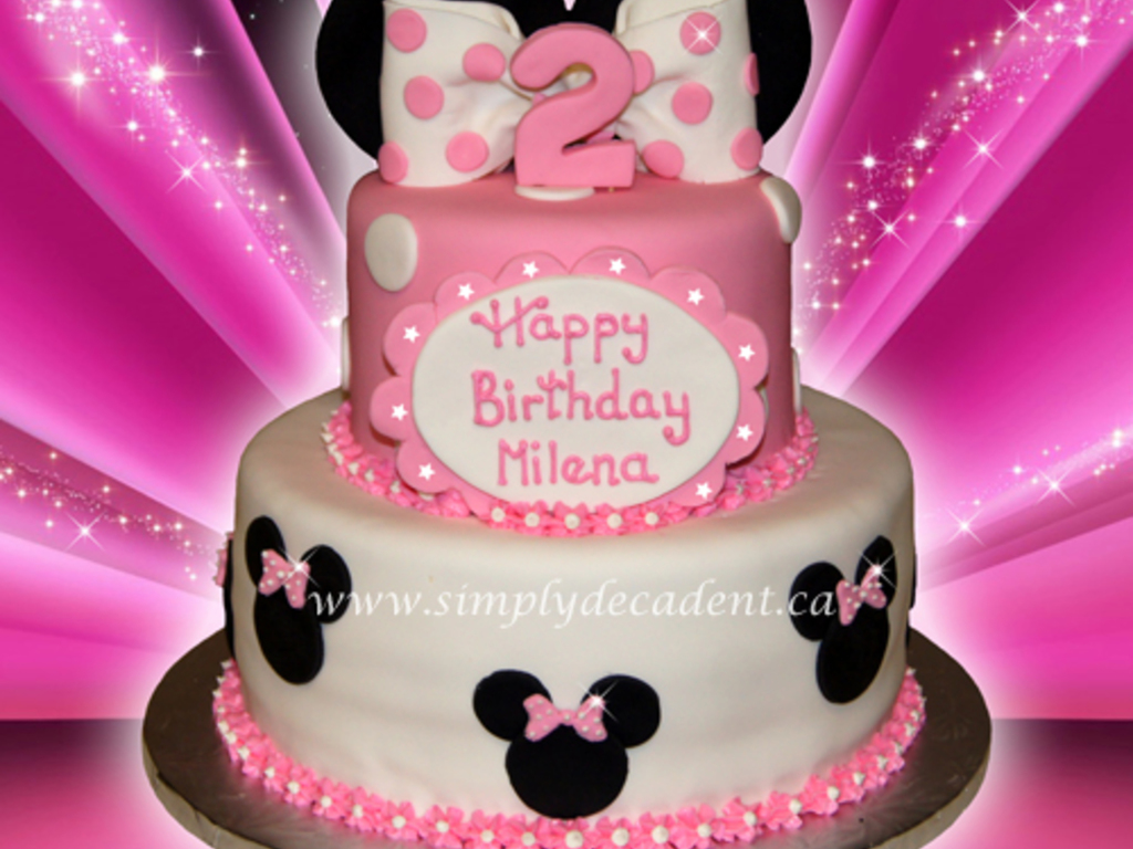 2 Tier Fondant Disney Minnie Mouse Birthday Cake CakeCentralcom