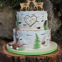 Birchtree Weddingcake Wooden Caketopper   Weddingcake with birchtree character, fern,