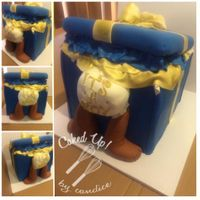 Baby Gift Box Vanilla Cake with Vanilla Buttercream. Baby Shower Cake