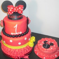 Minnie Mouse Birthday This is one of my more recent cakes. I've been working very hard to to get cleaner designs. The cake is french vanilla with vanilla...