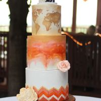 Travel Theme Wedding Cake 4 tier wedding cake. I traveled this cake 3 1/2 hours in 108 degree weather. My most nerve racking delivery to date! Bottom tier made to...