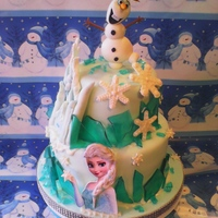 Frozen Birthday Cake This cake was for an 6 year old girl. The topper is fondant/gumpaste mix. The elsa is an edible image overlain with fondant accents for...