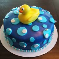 Ducky Baby Shower Cake 1 tier ducky baby shower cake with polka dots