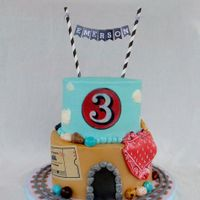Vintage Train Cake Vintage inspired train cake for 3rd birthday. Buttercream with fondant train tracks, tunnel, bandanna, jelly bean rocks, edible image 3 and...