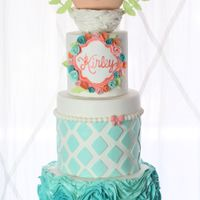 Birdy Baby Shower Cake Baby shower cake. 8 in bottom tier decorated in fondant ruffles. 6 in middle tier, decorated in a diamond pattern to match the nursery...