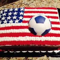 Patriotic Soccer Themed Cake Sheet cake that my family member wanted to be both very patriotic and including soccer.