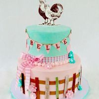 Vintage Farm Fresh Birthday Cake Vintage inspired farm fresh birthday cake for Bella; Swiss meringue buttercream with fondant fencing, pendant, edible image chicken topper...