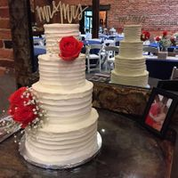 Four Tier Rustic Wedding Stacked using SPS, 10/8/6/4 with real flowers. Vanilla AMBC