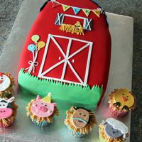 Birthday Barn And Farm Animal Cupcakes Made for a 5 year old's birthday party. Designed to match the invitation.