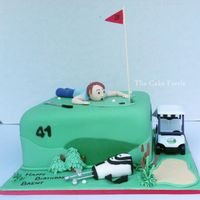 Golf Cake Vanilla cake with vanilla buttercream, covered and decorated in fondant.