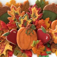 Fall Assortment sugarcookies decorated with royal icing and colored cookie dough