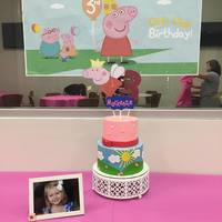 Peppa Pig Cake Peppa Pig Themed Cake. Vanilla and chocolate cakes with buttercream.