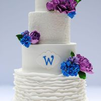 Ruffles And Lace Gumpaste peonies, hydrangeas, and lilacs in wildberry and royal blue