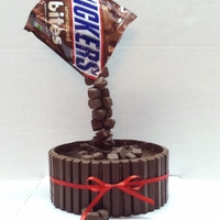 Anti-Gravity Cake Snickers bites falling into a pool of chocolate... Divinity! Chocolate cake, covered in ganache, surrounded in Kit-Kats.