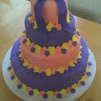 4 Tier Pink And Purple   Butter flavor cake with strawberries and cream filling