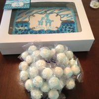 Baby Shower Cake baby shower cake to look like invitation plus cake pops.