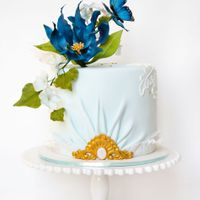 Blue And White With Butterfly Cake on the first wedding anniversary