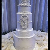 Monogram Bas Relief Wedding Cake 6 tiers wedding cake