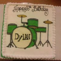 Drumset This is iced in buttercream and all decorations were painted with buttercream by using a small pallet knife and smoothing in with a little...