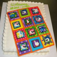 Baby Quilt Cake is an 11x15 vanilla gluten free cake, the baby quilt is all in fondant, and is a replica of the quilt the parents have for the new...