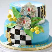 Blue, Chess, Piano, Travelling, Walking, Cycling, Tennis, Music! All combined in 1 cake! I think it is successfull in an elegant way.... :) !