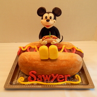 Hot Dog Mickey Smash Cake  Sawyer's hot dog smash cake for his first birthday! With Mickey of course! An all edible hot dog cake, with a rice krispy treat and...