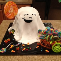 "Cute Ghost Trick Or Treating Cake Another Halloween birthday cake for my little guy! My husband said about the ghost's mouth, ""If you were trying to draw a whale,..."