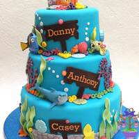 Finding Nemo Christening Cake Three tiers of chocolate fudge cake decorated with lots of 'sea life'