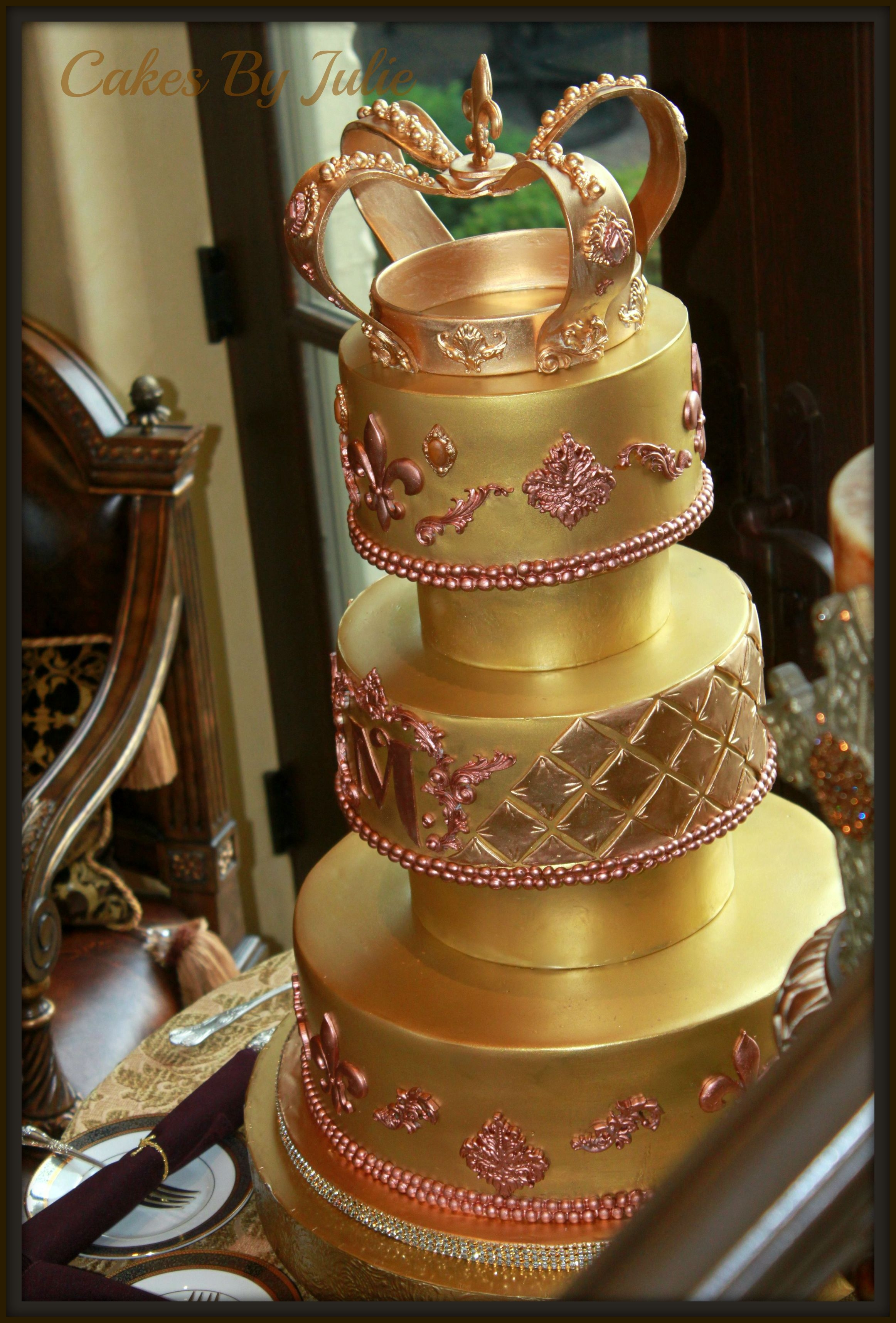 Gold Wedding Cake   Gold Wedding Cake with handmade gold gumpaste Crown.