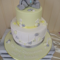 "Cute Little Christening/1St Birthday Cake Two tier Christening/1st Birthday cake with handmade favourite ""fluffy grey bunny"""