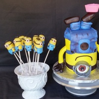 Minion Cake And Cake Pops upside down minion cake and cake pops