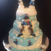 Ski Fondant Cake I made this cake for a friend son who was going to ski for the first time hope you like