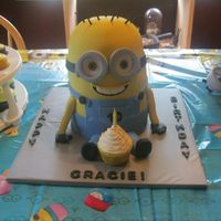 Minion Cake Made for my niece's 10th birthday. Stacked 6 inch layers and used half ball pan leveled off a bit for the top.