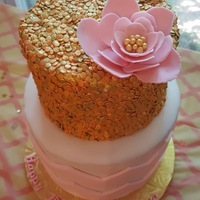 Pink And Gold First Birthday Cake I did this for a good friend of mine who's little girl just turned one and who had a gold and pink themed party. I used Jessica...