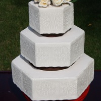 White Wedding Cake   used sugar veil to make the laces,