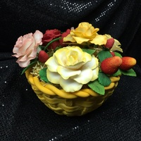 Strawberries And Roses In A Basket  I entered this in the state fair and won a 1st place blue ribbon AND Best in Division. I took strips of gum paste and literally wove a...