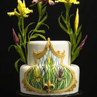 "Iris Stained Glass Cake I adore purple and yellow irises, so really enjoyed making this cake. It uses techniques from Alexandria Pellegrino's ""Simple..."