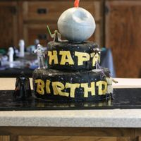 Star Wars Birthday Cake This is a display cake for my son's 7th birthday. I also did light saber topped cupcakes both white and chocolate cupcakes.The Death...
