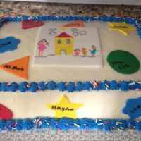 Kids Celebration Cake  This cake was for a friend who was celebrating her day care We let the kids write the names and design the logo on the cake by using edible...